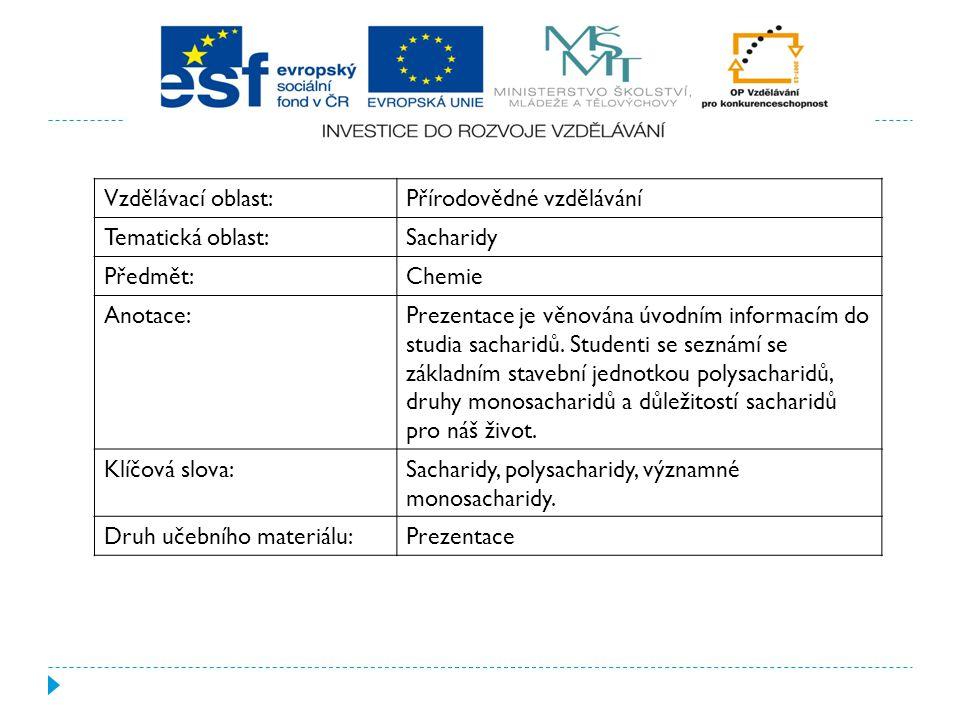 Vzdělávací oblast: Přírodovědné vzdělávání. Tematická oblast: Sacharidy. Předmět: Chemie. Anotace: