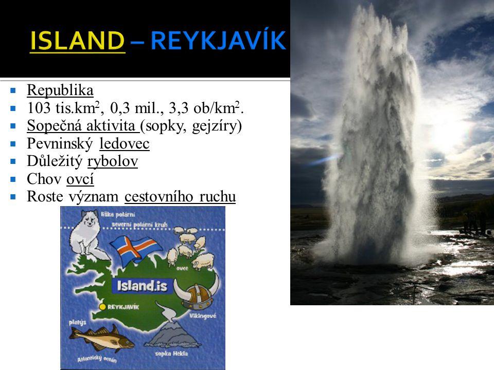 ISLAND – REYKJAVÍK Republika 103 tis.km2, 0,3 mil., 3,3 ob/km2.