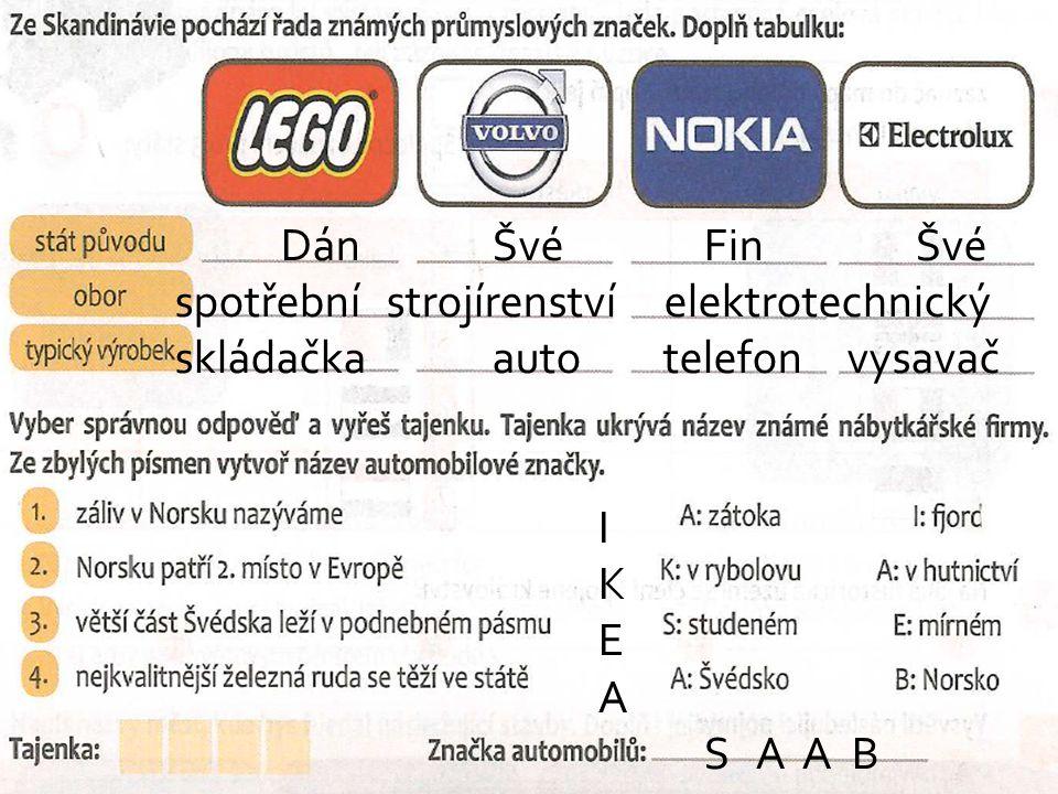 Dán Švé Fin Švé spotřební strojírenství elektrotechnický skládačka auto telefon vysavač I K E A S A A B