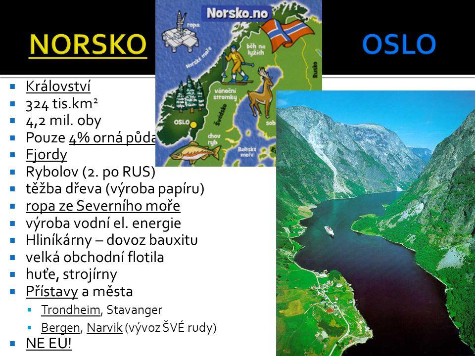 NORSKO OSLO Království 324 tis.km2 4,2 mil. oby Pouze 4% orná půda