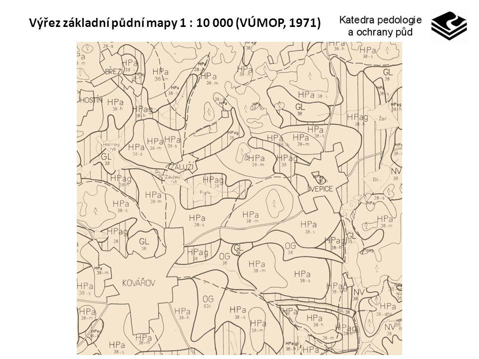 Výřez základní půdní mapy 1 : 10 000 (VÚMOP, 1971)
