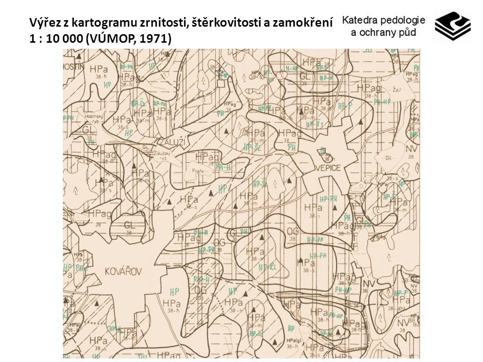 Výřez z kartogramu zrnitosti, štěrkovitosti a zamokření 1 : 10 000 (VÚMOP, 1971)