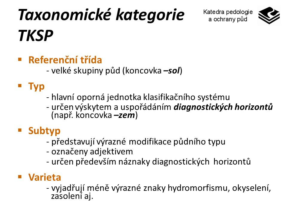 Taxonomické kategorie TKSP