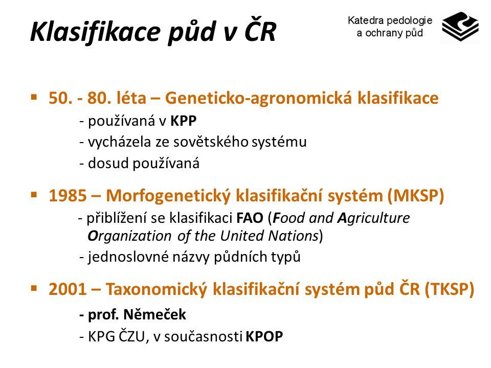 Klasifikace půd v ČR 50. - 80. léta – Geneticko-agronomická klasifikace. - používaná v KPP. - vycházela ze sovětského systému.