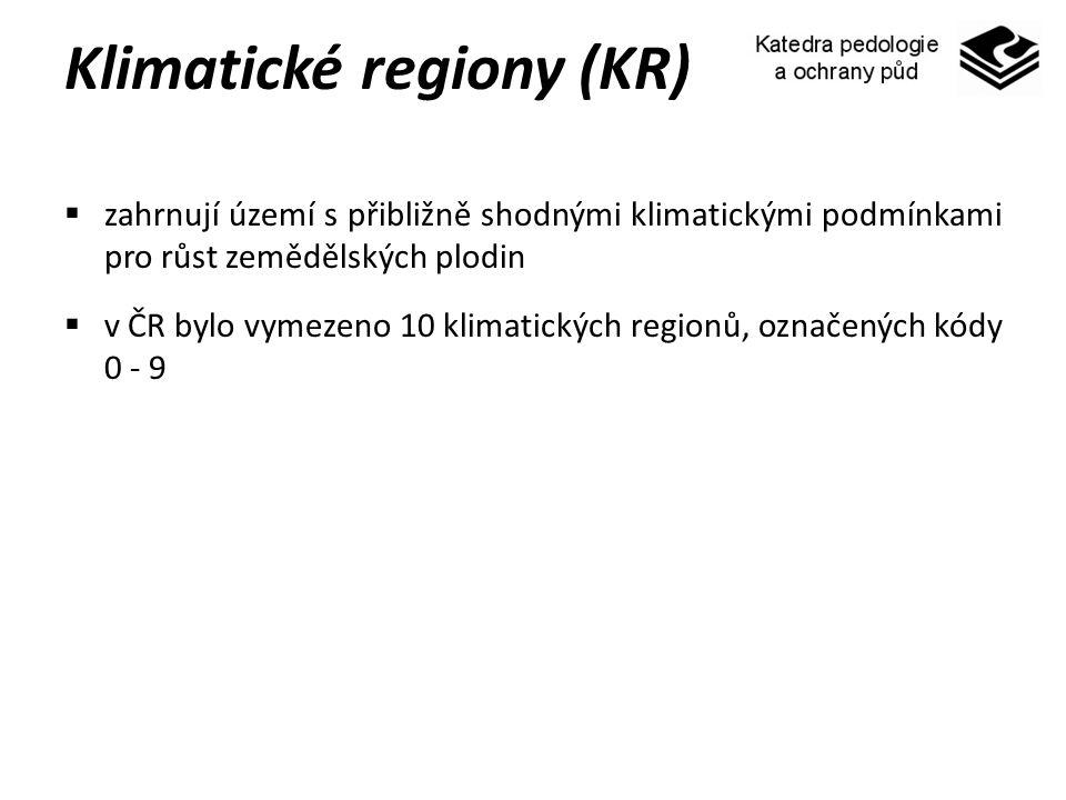 Klimatické regiony (KR)