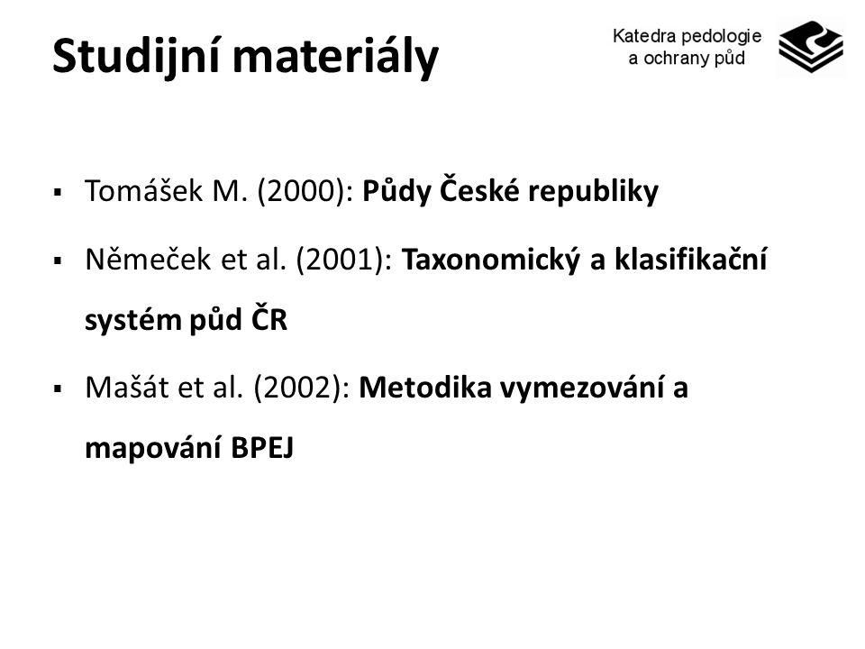 Studijní materiály Tomášek M. (2000): Půdy České republiky
