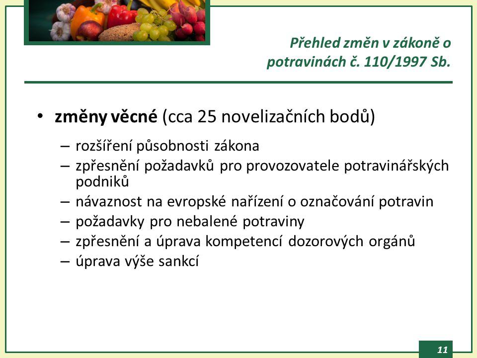 Přehled změn v zákoně o potravinách č. 110/1997 Sb.