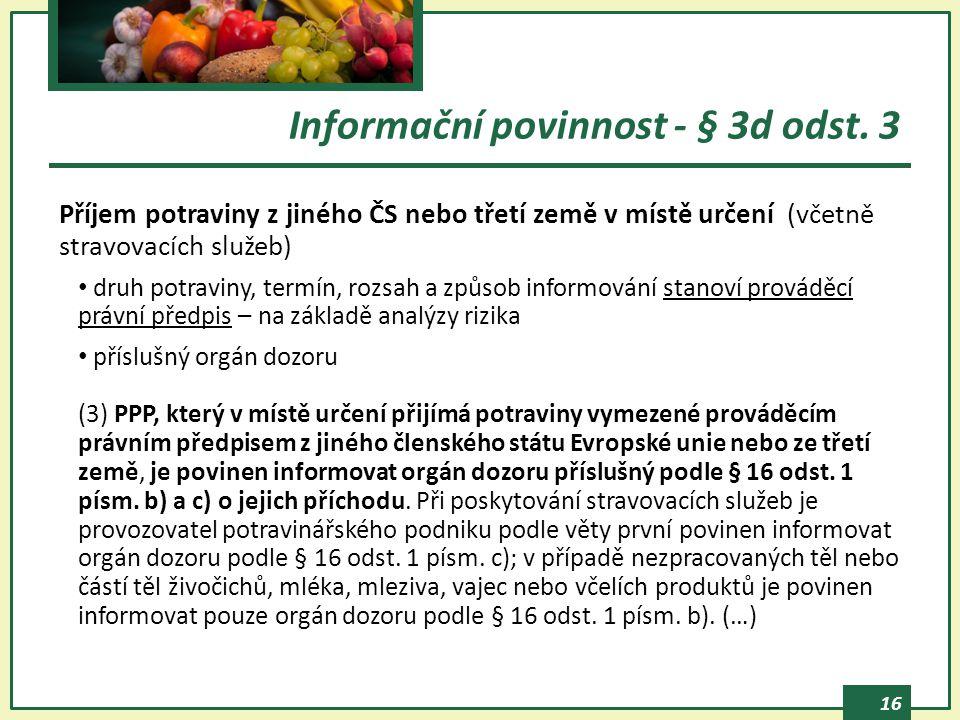 Informační povinnost - § 3d odst. 3