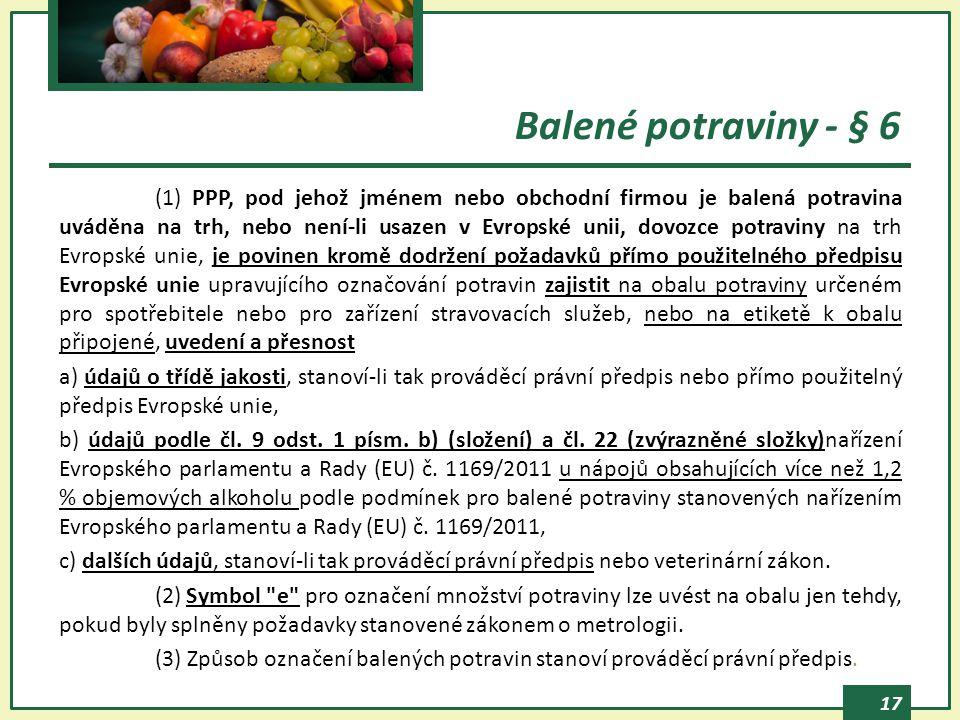 Balené potraviny - § 6
