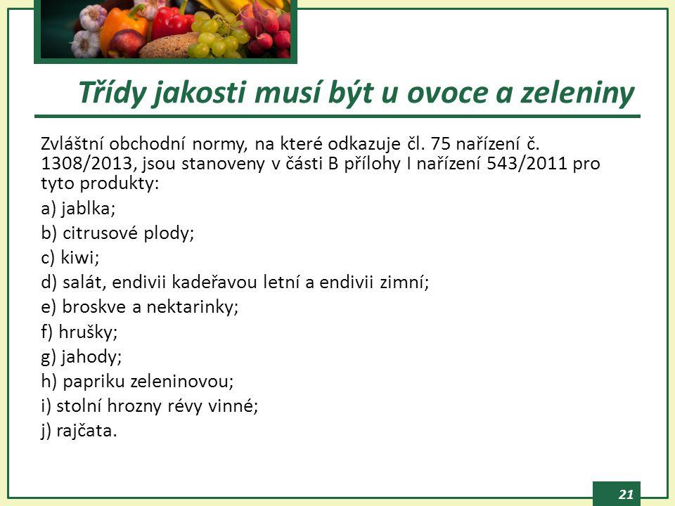 Třídy jakosti musí být u ovoce a zeleniny