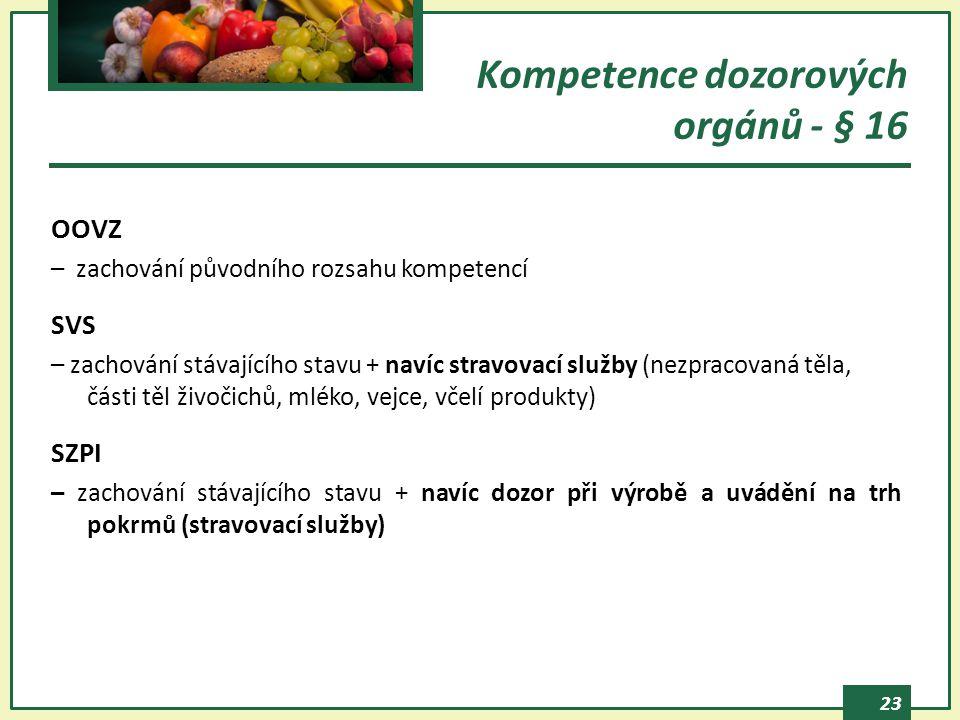 Kompetence dozorových orgánů - § 16