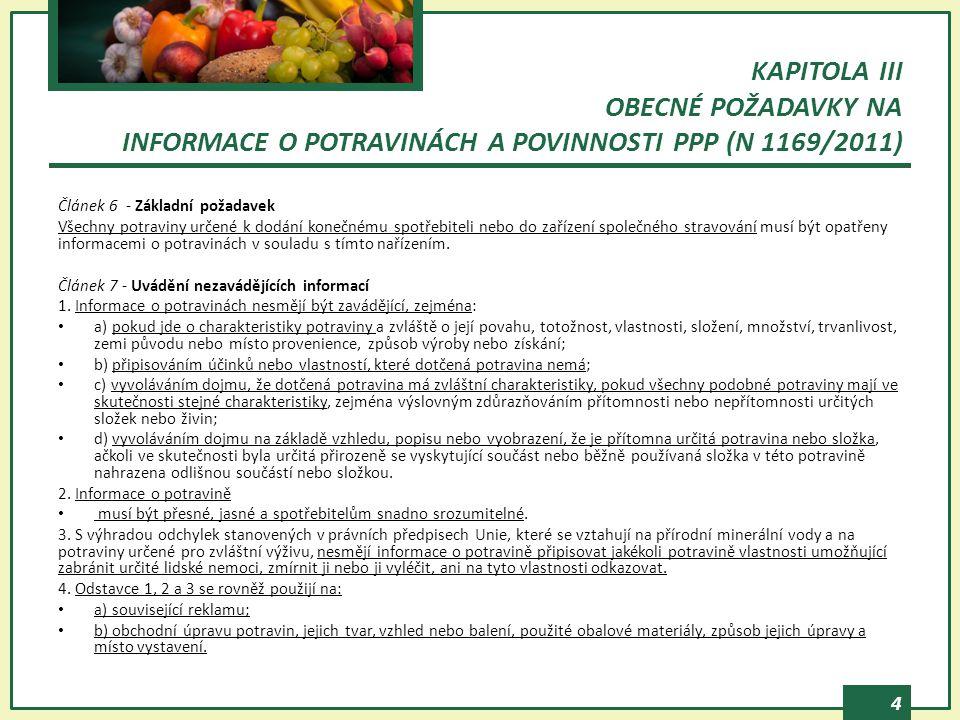 KAPITOLA III OBECNÉ POŽADAVKY NA INFORMACE O POTRAVINÁCH A POVINNOSTI PPP (N 1169/2011)