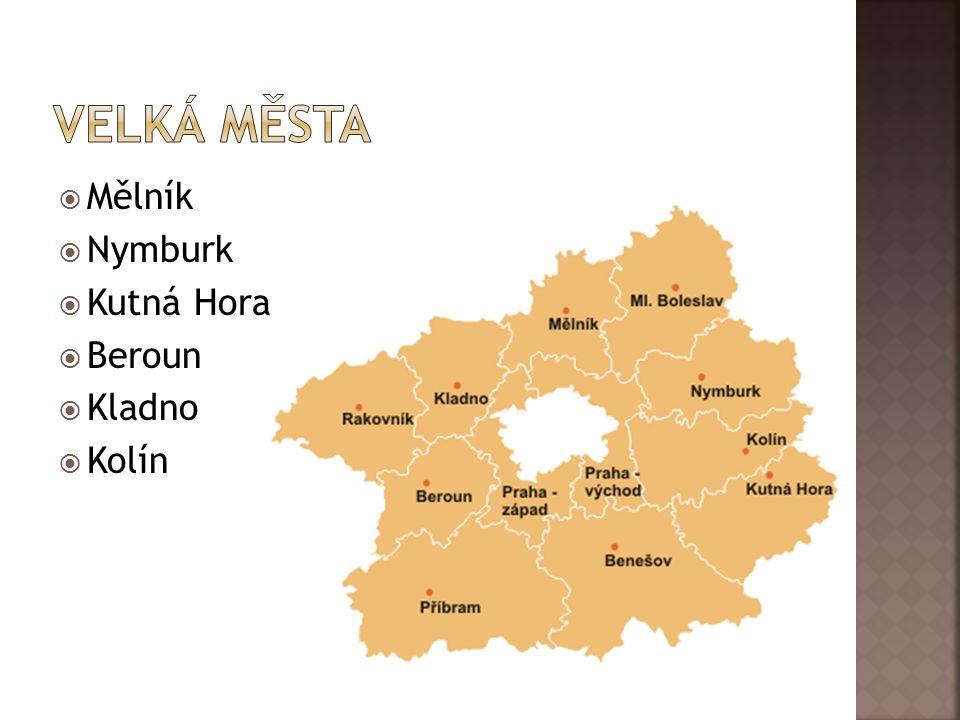 Velká města Mělník Nymburk Kutná Hora Beroun Kladno Kolín