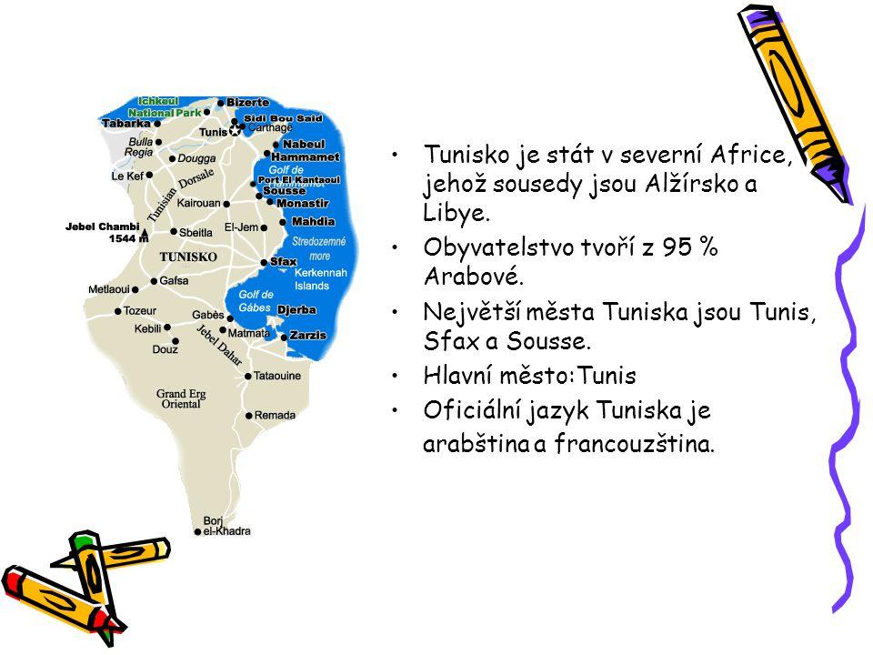 Tunisko je stát v severní Africe, jehož sousedy jsou Alžírsko a Libye.