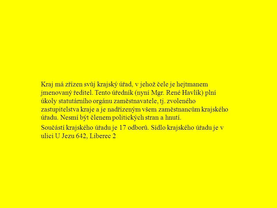 Kraj má zřízen svůj krajský úřad, v jehož čele je hejtmanem jmenovaný ředitel. Tento úředník (nyní Mgr. René Havlík) plní úkoly statutárního orgánu zaměstnavatele, tj. zvoleného zastupitelstva kraje a je nadřízeným všem zaměstnancům krajského úřadu. Nesmí být členem politických stran a hnutí.