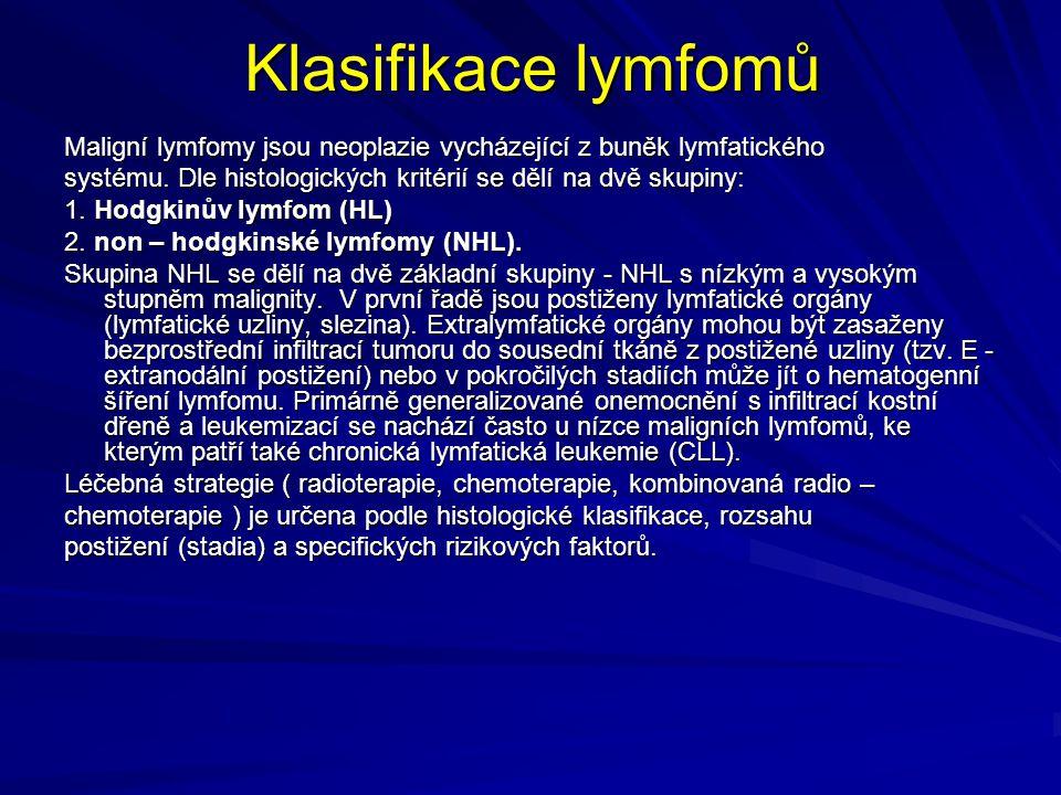 Klasifikace lymfomů Maligní lymfomy jsou neoplazie vycházející z buněk lymfatického. systému. Dle histologických kritérií se dělí na dvě skupiny: