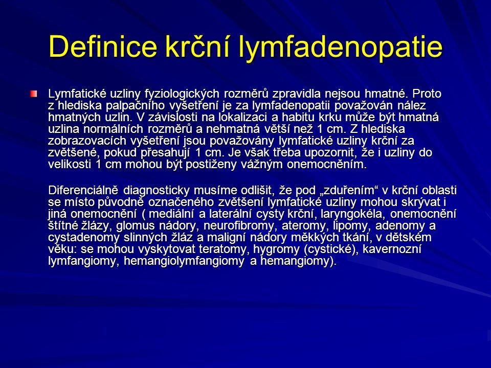 Definice krční lymfadenopatie
