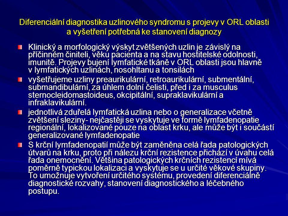 Diferenciální diagnostika uzlinového syndromu s projevy v ORL oblasti a vyšetření potřebná ke stanovení diagnozy