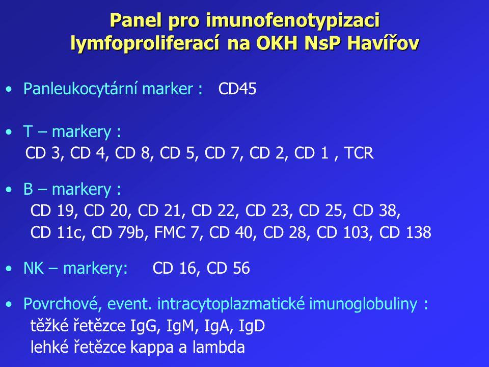 Panel pro imunofenotypizaci lymfoproliferací na OKH NsP Havířov