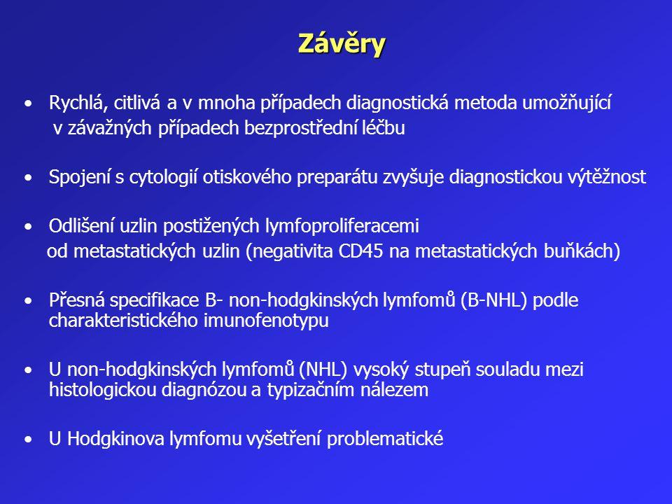 Závěry Rychlá, citlivá a v mnoha případech diagnostická metoda umožňující. v závažných případech bezprostřední léčbu.