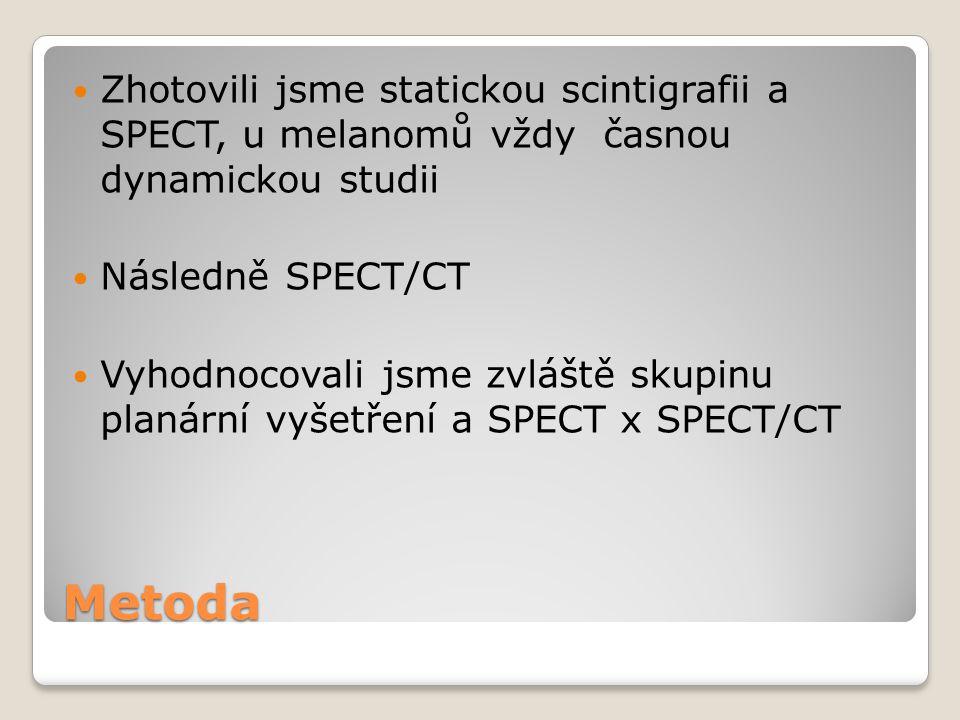 Zhotovili jsme statickou scintigrafii a SPECT, u melanomů vždy časnou dynamickou studii