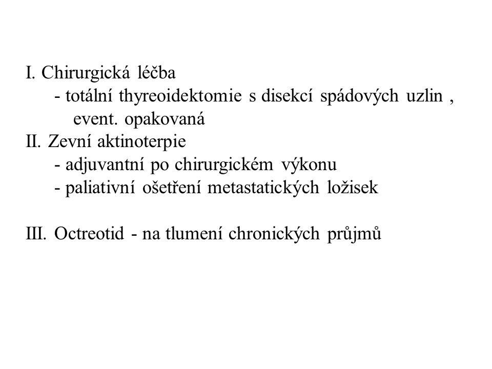 I. Chirurgická léčba - totální thyreoidektomie s disekcí spádových uzlin , event. opakovaná. II. Zevní aktinoterpie.