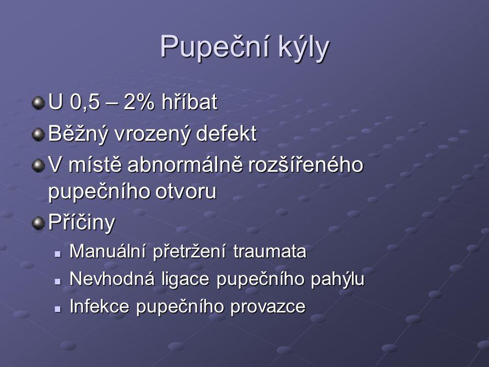 Pupeční kýly U 0,5 – 2% hříbat Běžný vrozený defekt