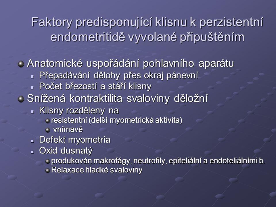 Faktory predisponující klisnu k perzistentní endometritidě vyvolané připuštěním