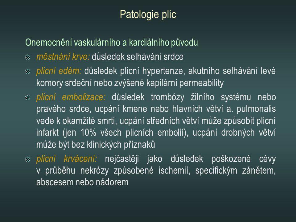 Patologie plic Onemocnění vaskulárního a kardiálního původu