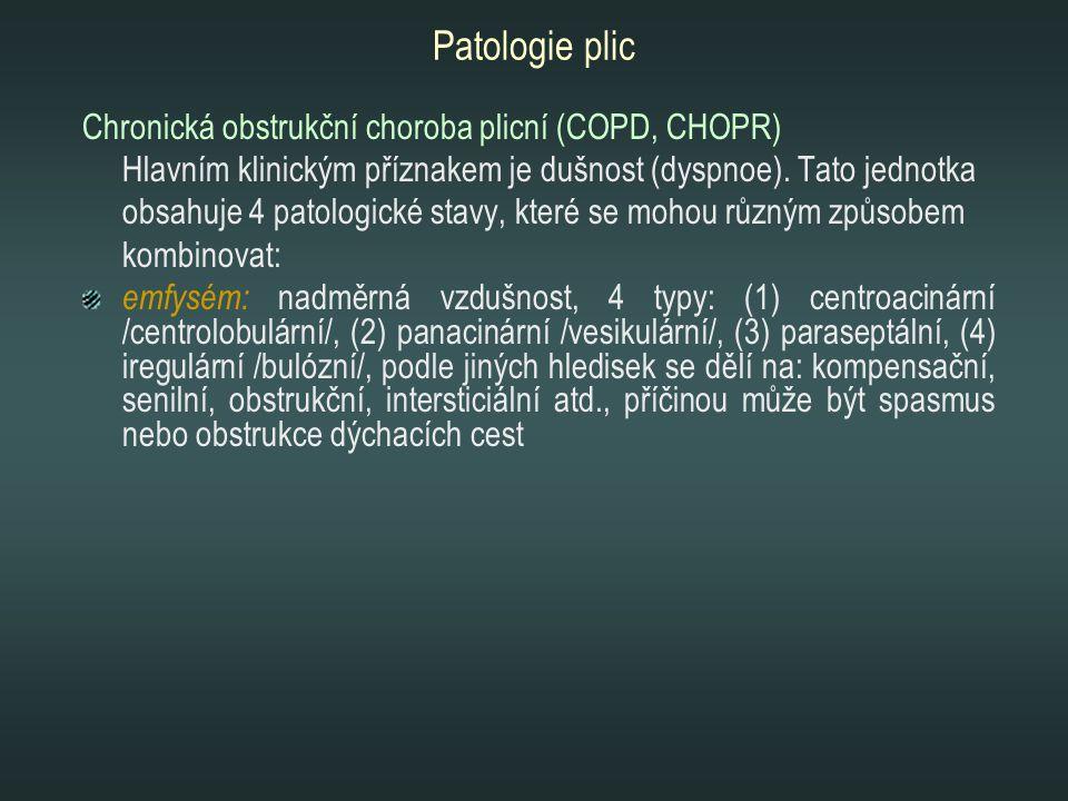 Patologie plic Chronická obstrukční choroba plicní (COPD, CHOPR)