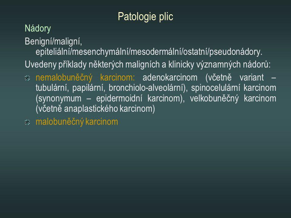 Patologie plic Nádory. Benigní/maligní, epiteliální/mesenchymální/mesodermální/ostatní/pseudonádory.