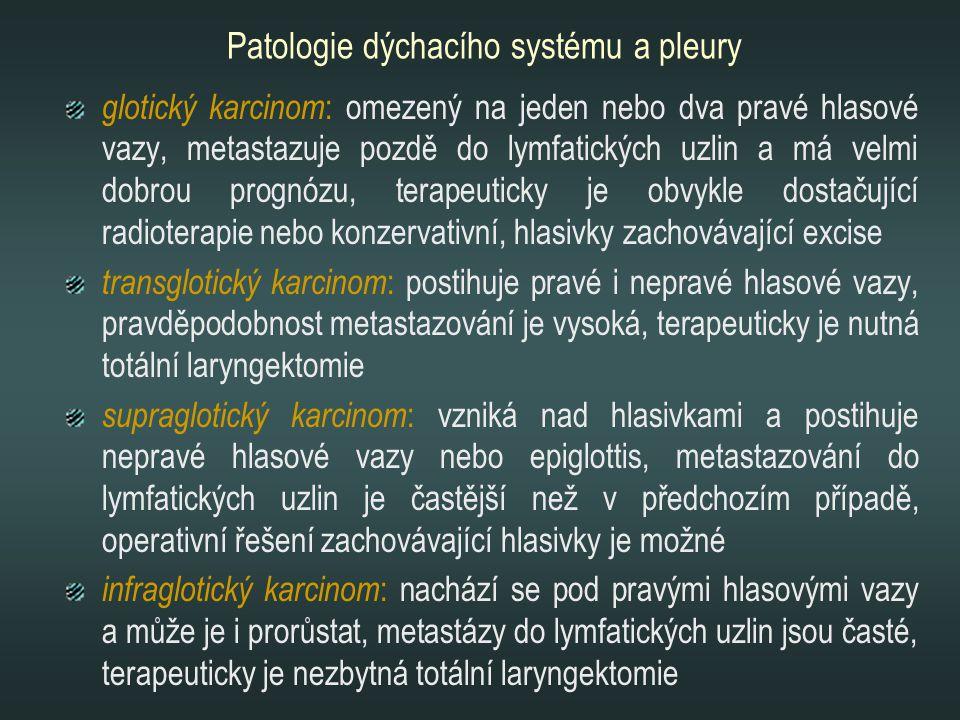 Patologie dýchacího systému a pleury