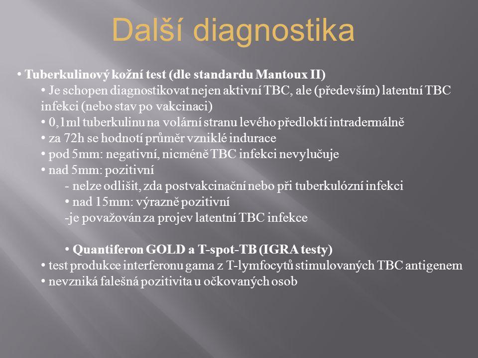 Další diagnostika Tuberkulinový kožní test (dle standardu Mantoux II)