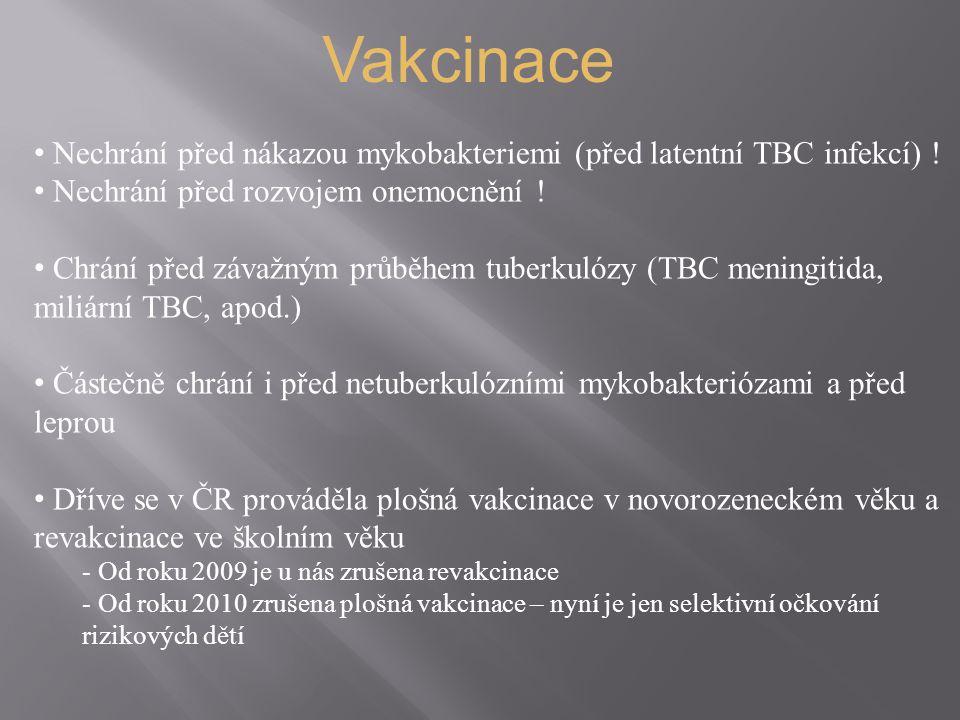 Vakcinace Nechrání před nákazou mykobakteriemi (před latentní TBC infekcí) ! Nechrání před rozvojem onemocnění !