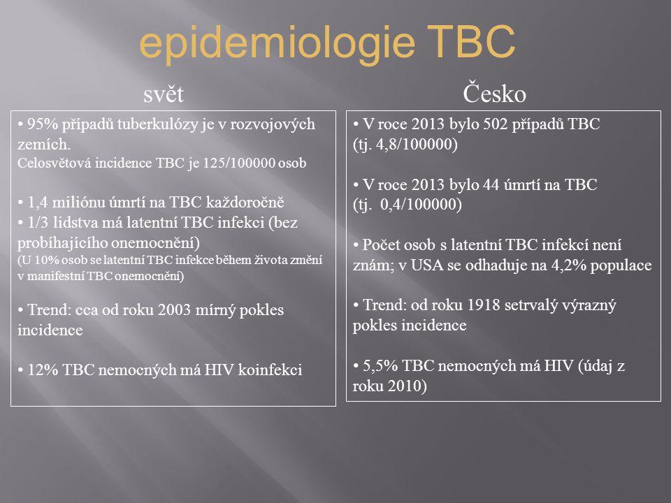 epidemiologie TBC svět Česko