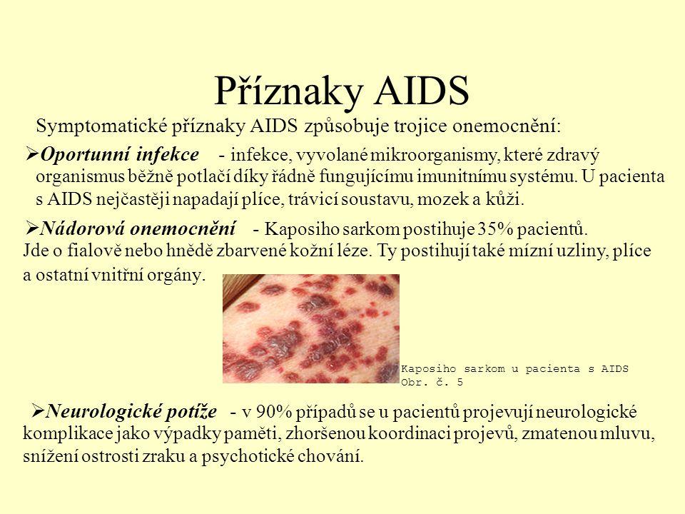 Příznaky AIDS Symptomatické příznaky AIDS způsobuje trojice onemocnění: Oportunní infekce.