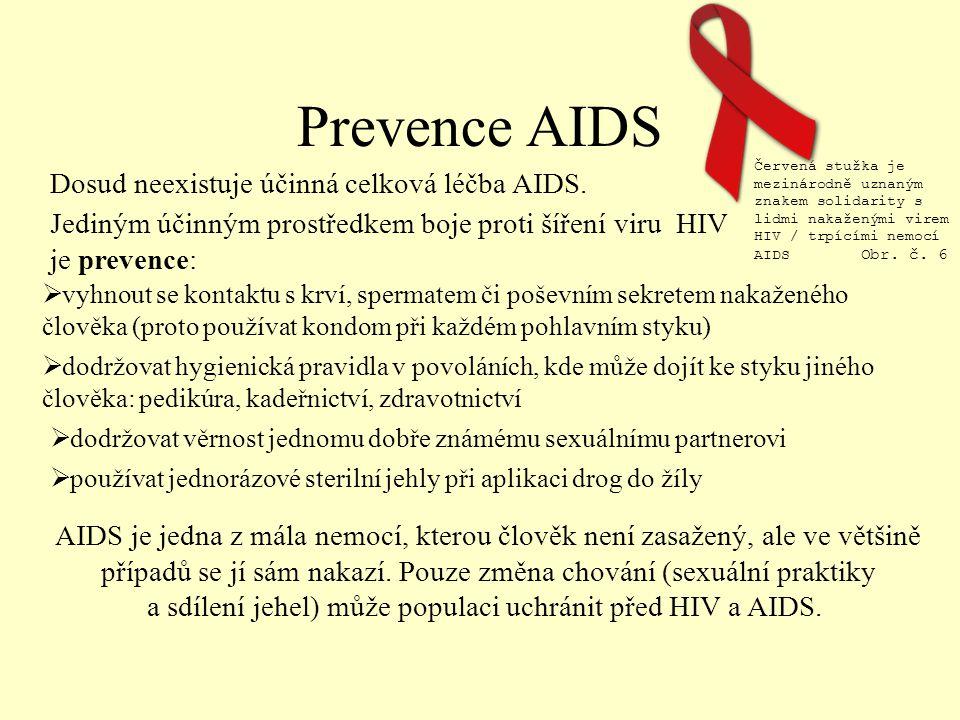 Prevence AIDS Dosud neexistuje účinná celková léčba AIDS.