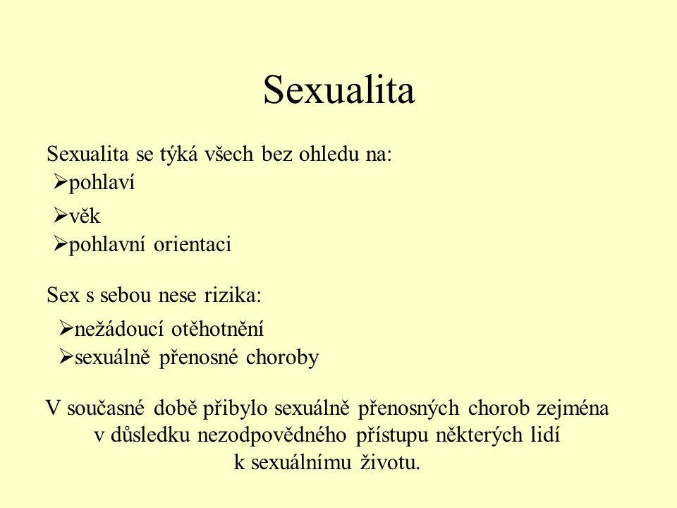 Sexualita Sexualita se týká všech bez ohledu na: pohlaví věk