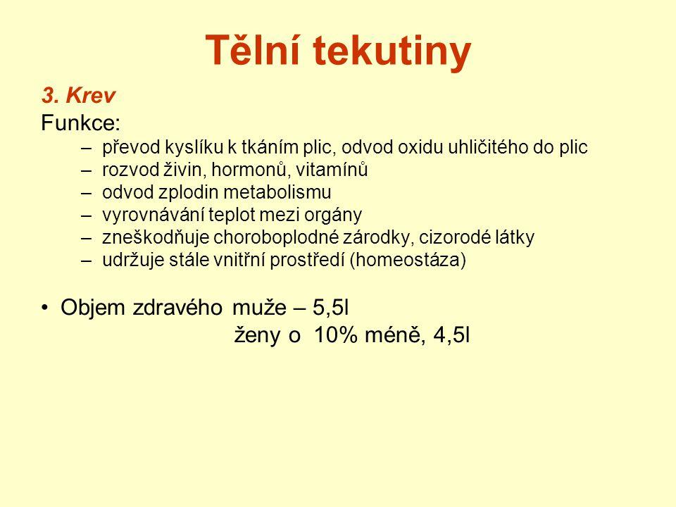 Tělní tekutiny 3. Krev Funkce: Objem zdravého muže – 5,5l
