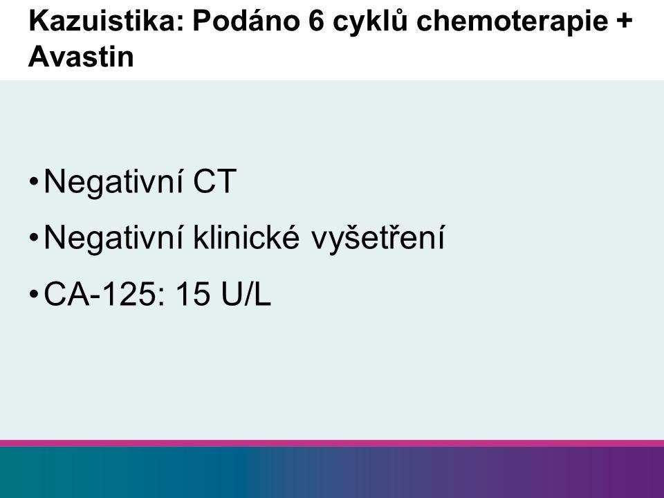 Kazuistika: Podáno 6 cyklů chemoterapie + Avastin
