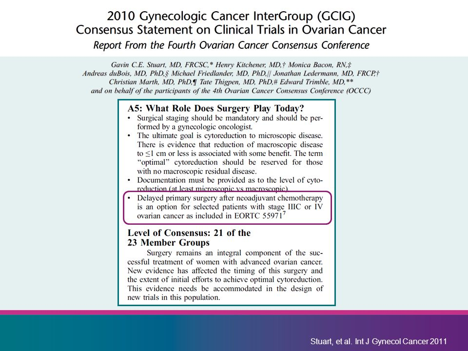 Stuart, et al. Int J Gynecol Cancer 2011