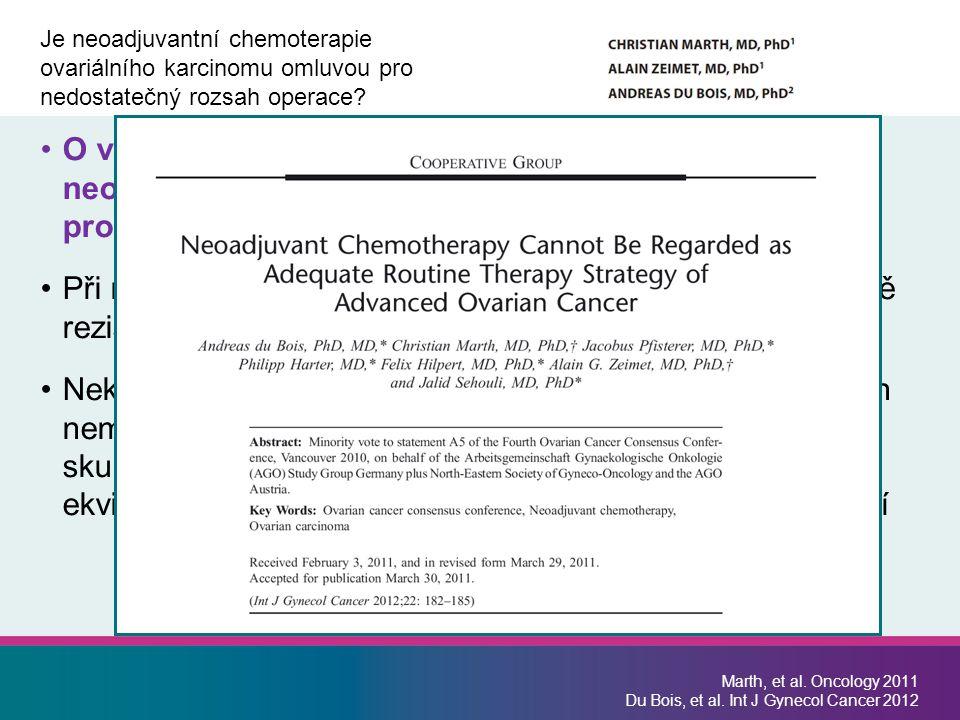 Je neoadjuvantní chemoterapie ovariálního karcinomu omluvou pro nedostatečný rozsah operace