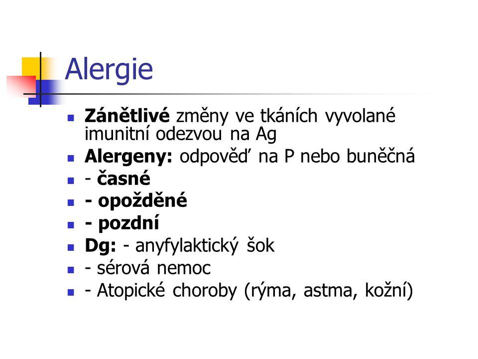 Alergie Zánětlivé změny ve tkáních vyvolané imunitní odezvou na Ag