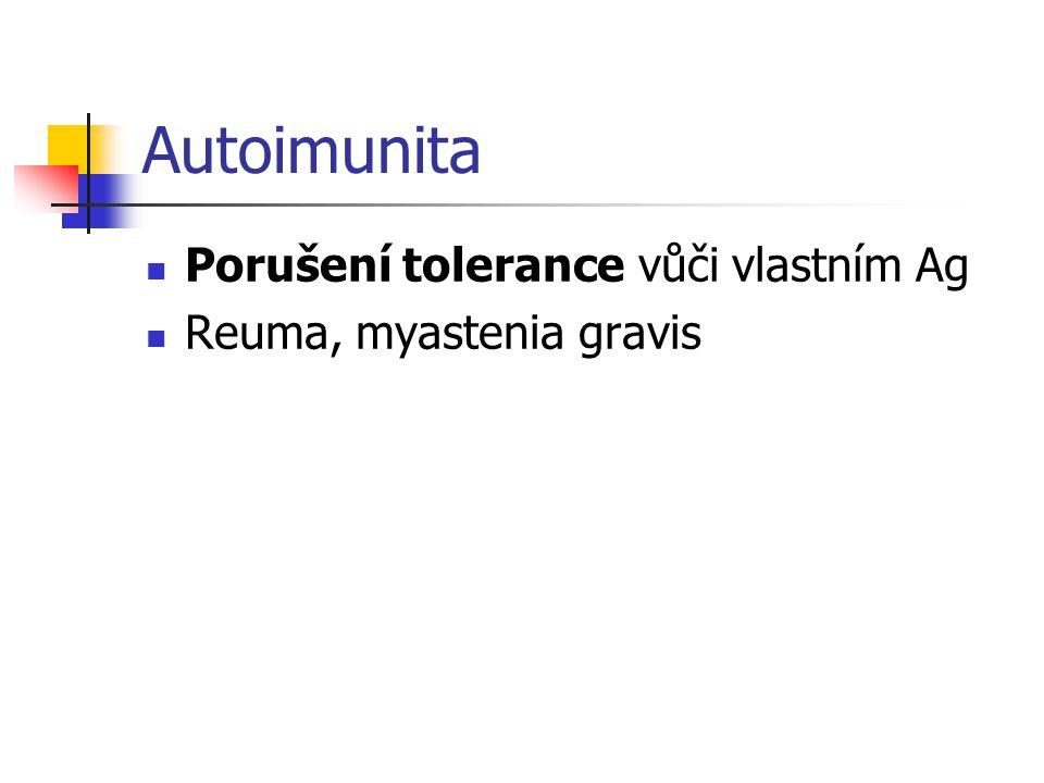 Autoimunita Porušení tolerance vůči vlastním Ag