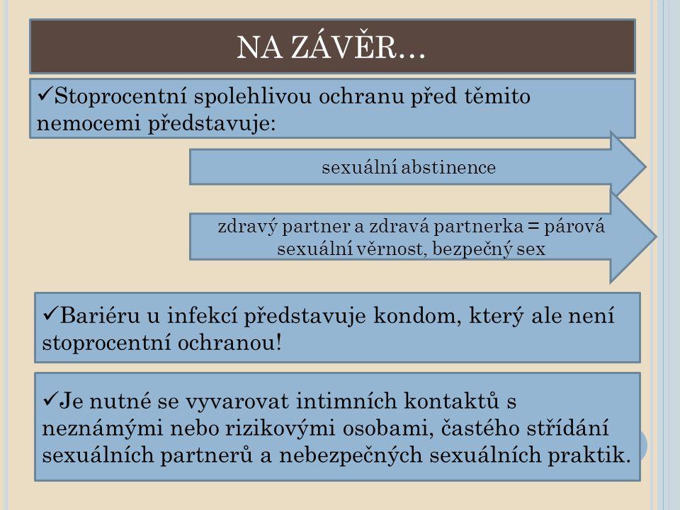NA ZÁVĚR… Stoprocentní spolehlivou ochranu před těmito nemocemi představuje: sexuální abstinence.