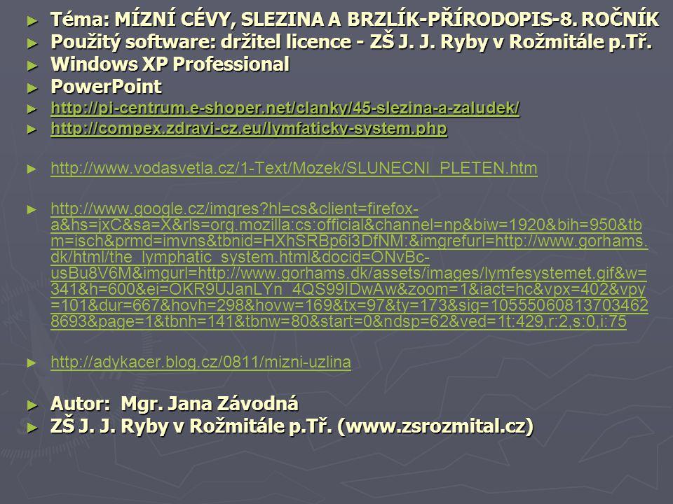 Téma: MÍZNÍ CÉVY, SLEZINA A BRZLÍK-PŘÍRODOPIS-8. ROČNÍK