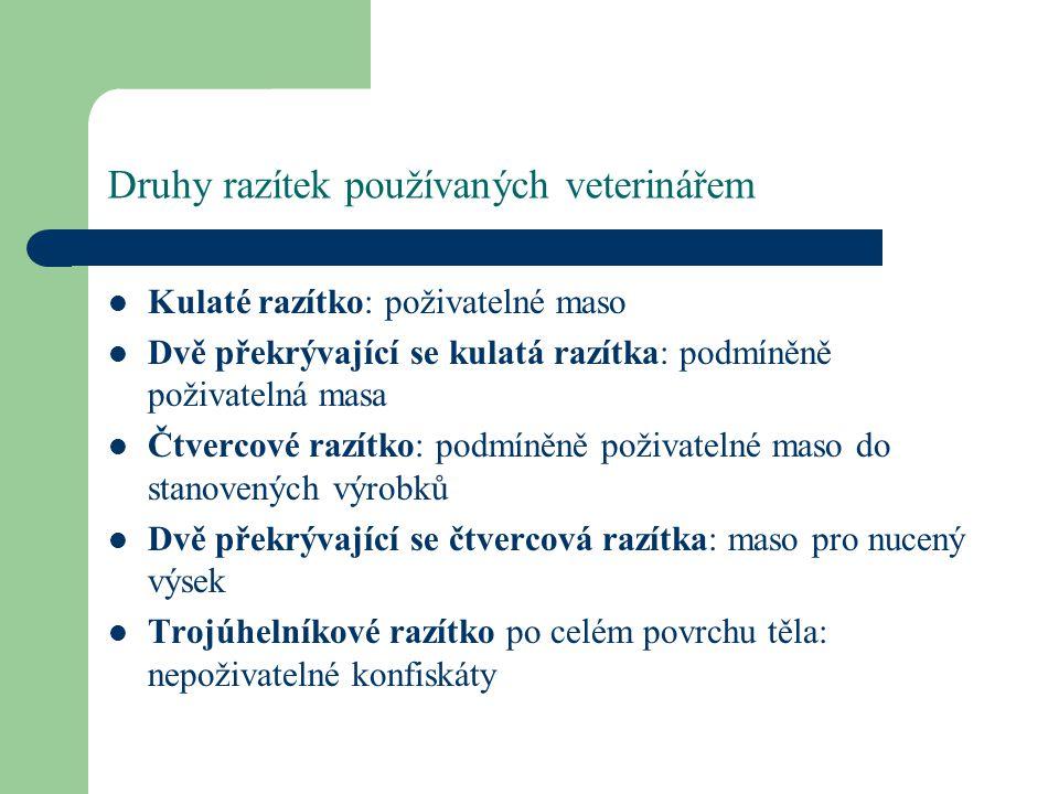 Druhy razítek používaných veterinářem
