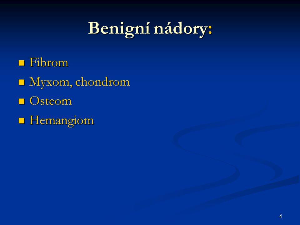 Benigní nádory: Fibrom Myxom, chondrom Osteom Hemangiom