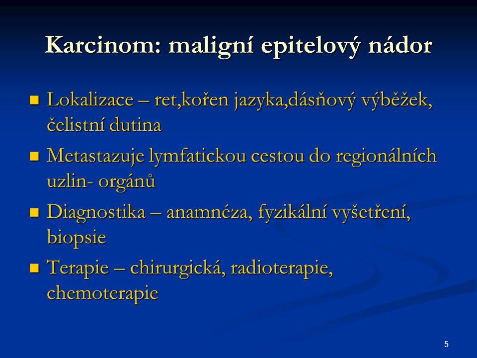 Karcinom: maligní epitelový nádor
