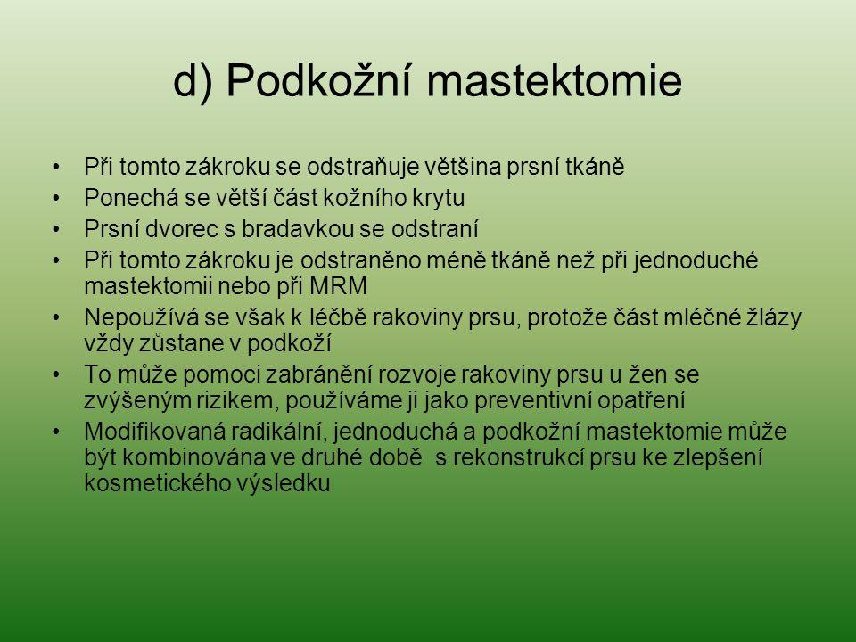 d) Podkožní mastektomie